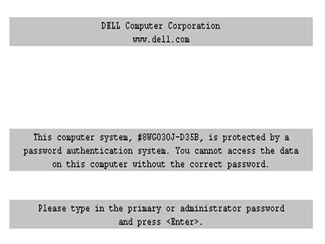 The password prompt of DELL notebooks. Here you can see the service tag.